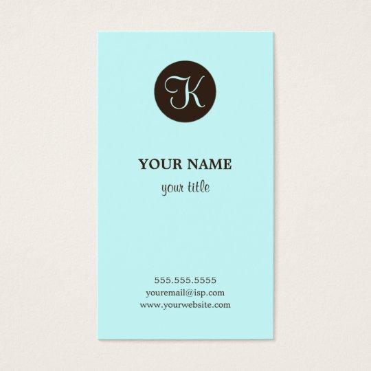 Elegant Blue and Brown Monogram Business Cards