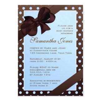 "Elegant Blue and Brown Polka Dot Baby Shower 5"" X 7"" Invitation Card"