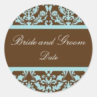 Elegant Blue and Brown Wedding Favor Sticker