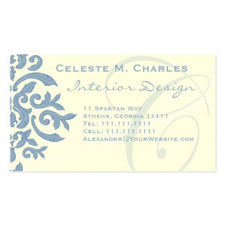 Elegant Blue and Cream Damask Letter C Business Card Templates