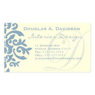 Elegant Blue and Cream Damask Letter D Business Card