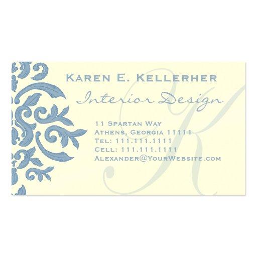 Elegant Blue and Cream Damask Letter E Business Card