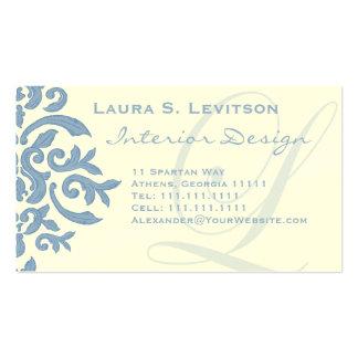 Elegant Blue and Cream Damask Letter L Business Card