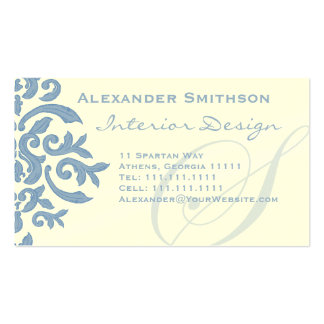 Elegant Blue and Cream Damask Letter S Business Card