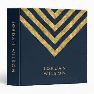 Elegant Blue and Faux Gold Chevron Name Binder