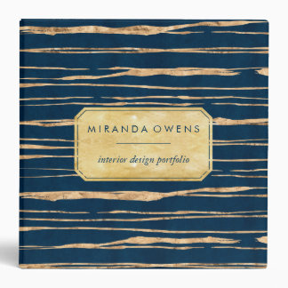 Elegant Blue and Faux Gold Foil Abstract Binder