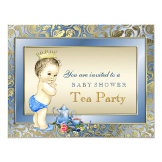 Elegant Blue and Gold Boys Tea Party Baby Shower Personalized Announcements