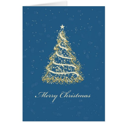Elegant blue and gold christmas tree card zazzle for Blue and gold christmas