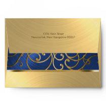 Elegant Blue and Gold Filigree Envelope