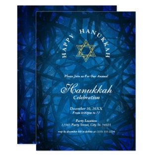 Elegant Blue And Gold Hanukkah Party Invitations at Zazzle