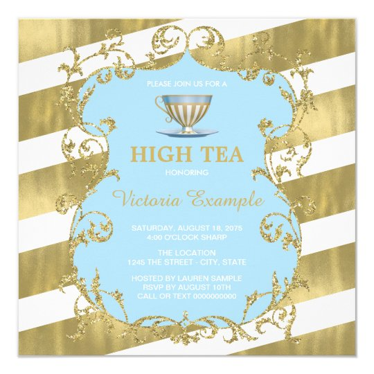 elegant blue and gold high tea invitation zazzle com