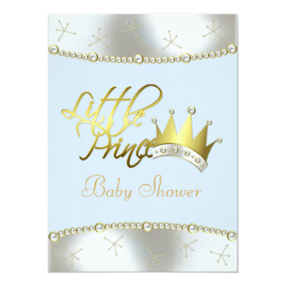 """Elegant Blue and Gold Little Prince Baby Shower 5.5"""" X 7.5"""" Invitation Card"""
