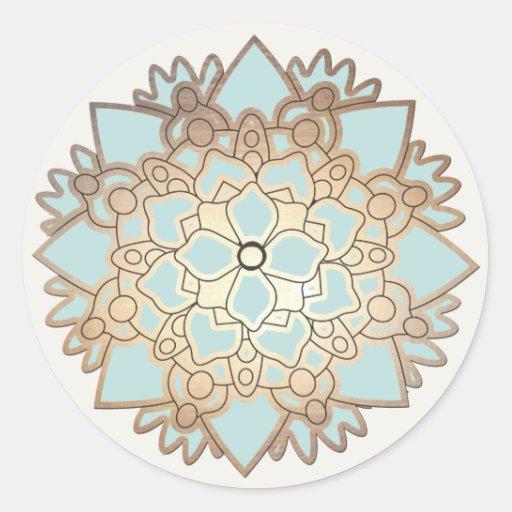 Elegant Blue and Gold Lotus Flower Sticker