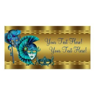 Elegant Blue and Gold Masquerade Party Banner Poster