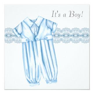 Elegant Blue and Gray Baby Boy Shower Card