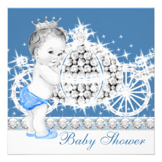 Elegant Blue and Gray Prince Baby Shower Custom Invitations