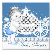 Elegant Blue and Gray Prince Baby Shower Invitation