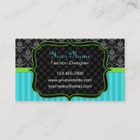 Elegant Blue and Green, Black Damask Business Card
