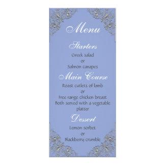 Elegant Blue and metal effect swirl wedding menu