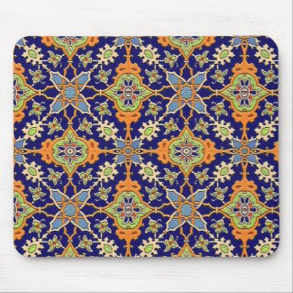 Elegant Blue and Orange Mousepad
