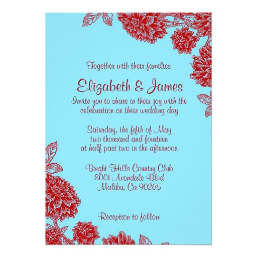 "Elegant Blue And Red Wedding Invitations 5"" X 7"