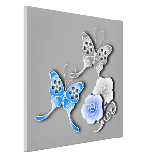 Elegant Blue And Silver Butterflies And Roses Stretched Canvas Print