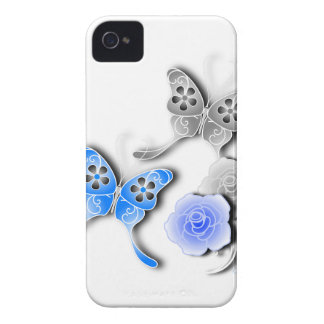 Elegant Blue And Silver Butterflies And Roses iPhone 4 Cover