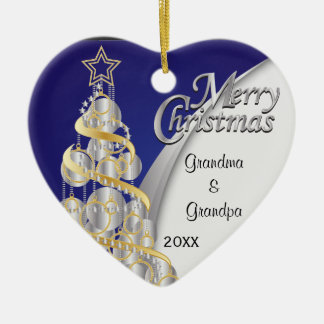 Elegant Blue and Silver Christmas | Customize Double-Sided Heart Ceramic Christmas Ornament