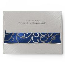 Elegant Blue and Silver Filigree Envelope