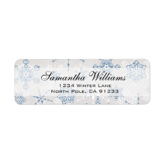 Elegant Blue and SIlver Holiday Snowflake Return Address Label