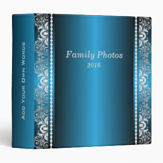 Elegant Blue and Silver Lace 3 Ring Binder