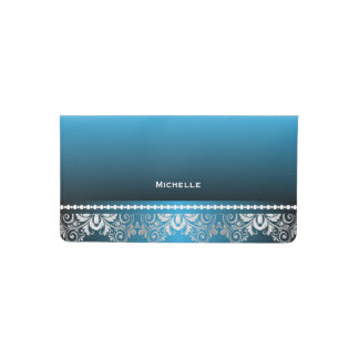 Elegant Blue and Silver Lace Checkbook Cover