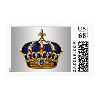 Elegant Blue and Silver Prince Baby Shower Stamp