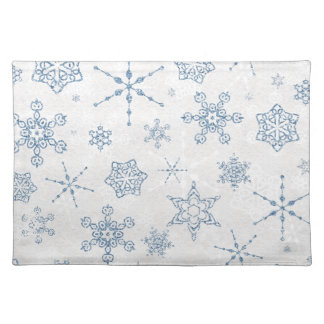 Elegant Blue and Silver Snowflake Print Cloth Placemat