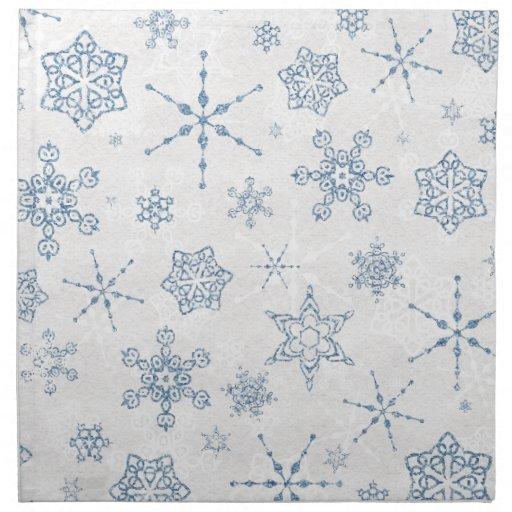 Elegant Blue And Silver Snowflake Print Napkin Zazzle