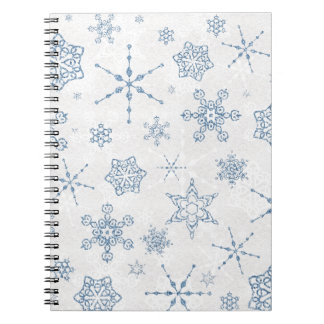 Elegant Blue and Silver Snowflake Print Notebook