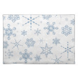 Elegant Blue and Silver Snowflake Print Placemats