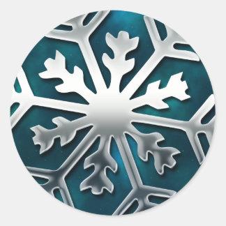 Elegant Blue and Silver Snowflake Sticker