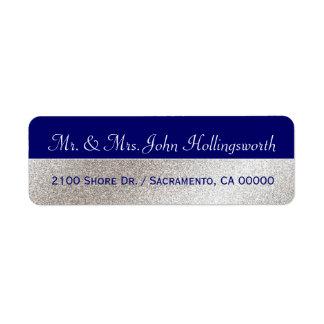 Elegant Blue and Silver Tone Return Address Label