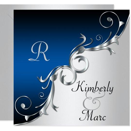 Elegant Blue And Silver Wedding Invitation