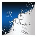 """Elegant Blue and Silver Wedding Invitation 5.25"""" Square Invitation Card"""