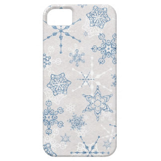 Elegant Blue and Silver Winter Snowflake iPhone SE/5/5s Case
