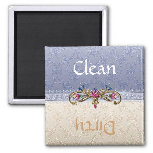 Elegant Blue and Tan Damask Dishwasher Magnet