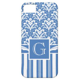 Elegant Blue and White Art Deco Damask iPhone SE/5/5s Case