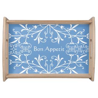Elegant Blue and White Bon Appetit Swirls Food Tray