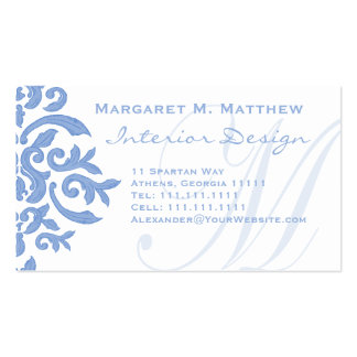 Elegant Blue and White Damask Letter M Business Card