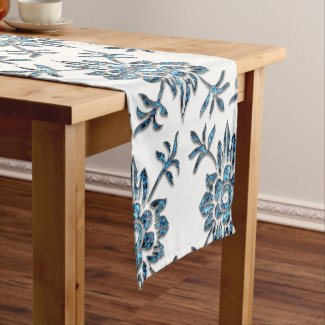 Elegant Blue and White Floral Crystal Table Runner