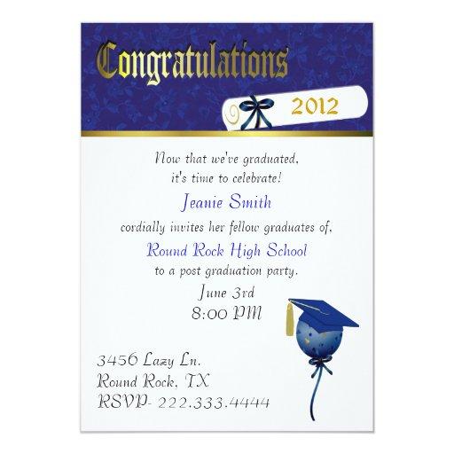 Elegant Blue and White Graduation Party Invitation | Zazzle