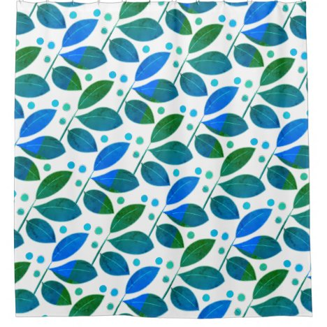 Elegant Blue and White Leaves and Berries Nature Shower Curtain
