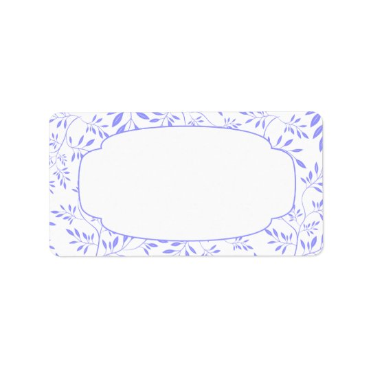 Elegant Blue and White Leaves Label